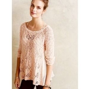 Anthropologie KNITTED & KNOTTED Pink Knit Sweater